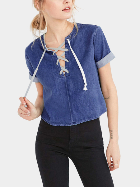 Fashion Denim T-shirt With Lace-up details