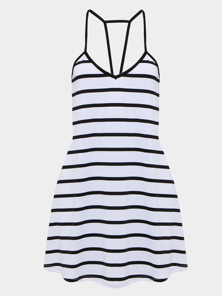 Stripe Plunge Neckline Mini Dress