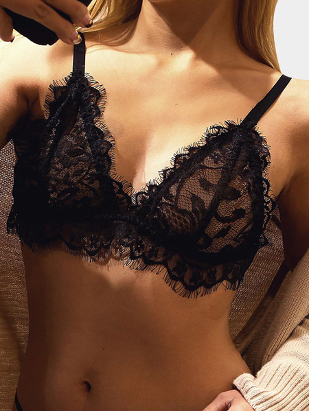 Black V-neck Lace Trim Triangle Bralettes