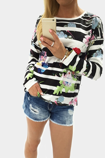 Black Stripe Random Floral Print Long Sleeves T-shirt
