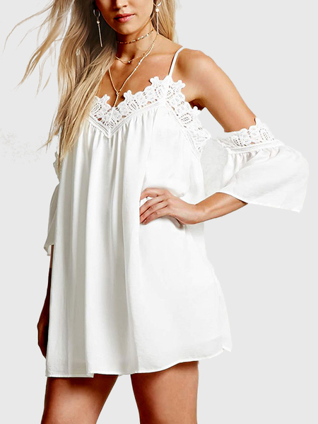 White Cold Shoulder Lace Details Mini Dress