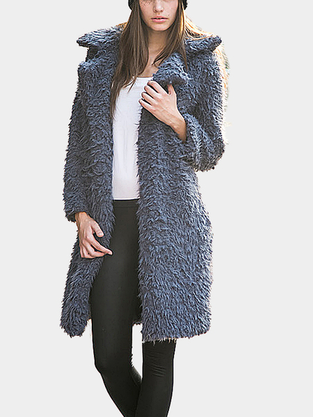 Grey Fluffy Longline Coat
