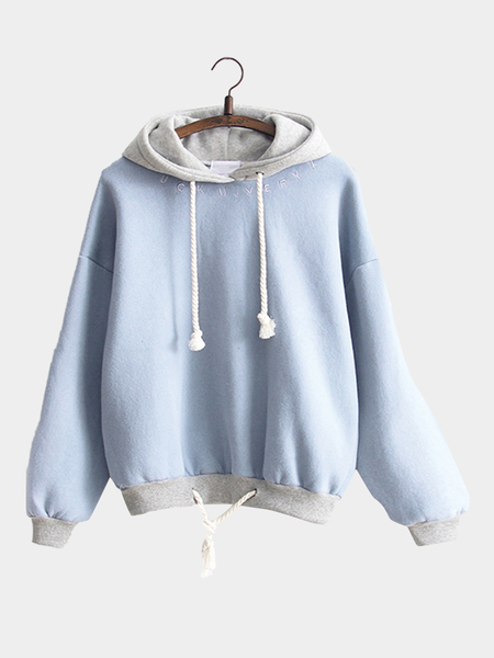 Blue Letter Embroidery Pattern Hoodie with Drawstring Hem