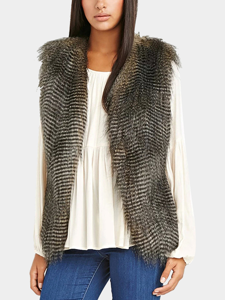 Side-Paneled Fur Gilet in Black