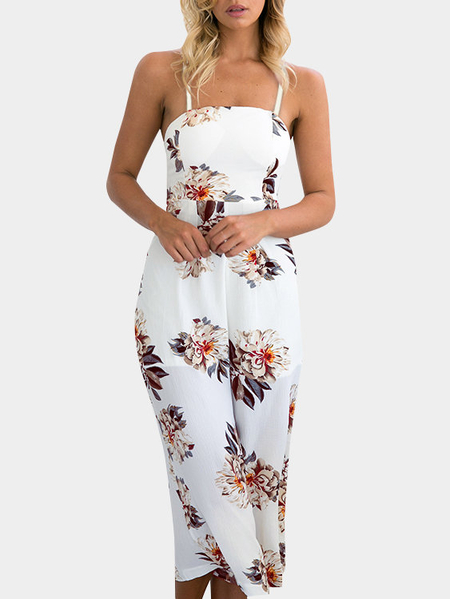 Random Floral Print Wide Leg Jumpsuit in White