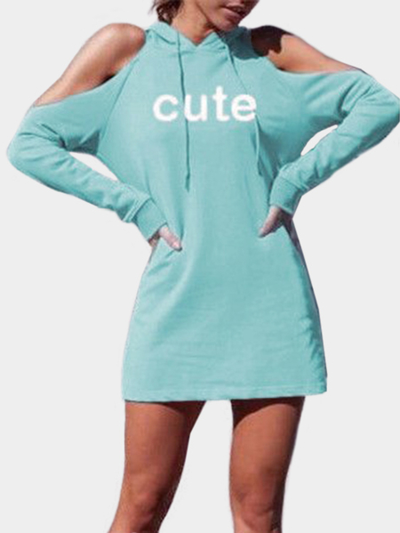 Blue Letter Hooded Cold Shoulder Long Sleeves Mini Dresses