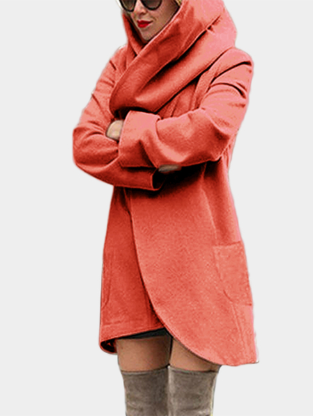 Orange Hooded Design Long Sleeves Coat