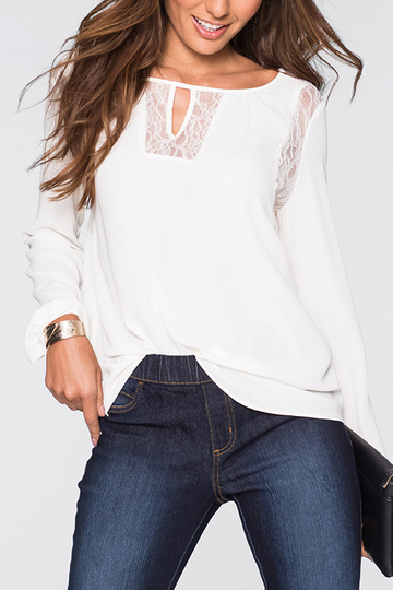 White Lace Design Round Neck Cutout Front Top