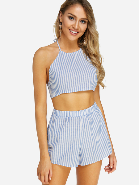 Light Blue Self-tie Design Stripe Sleeveless Two Piece Outfits