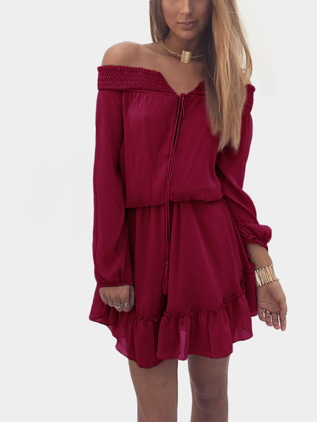 Wine Red Lace-up Details Off Shoulder Lantern Sleeves Mini Dress