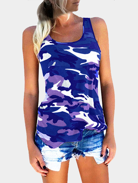 Camouflage Round Neck Y-back Sleeveless Top in Blue