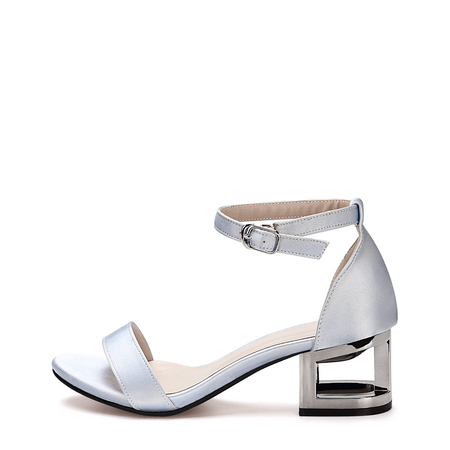 Blue Hollow Metallic Block Heel Single Strap Front Sandals