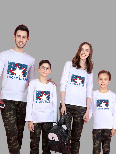 Family Look Printed Design Matching Tops in White