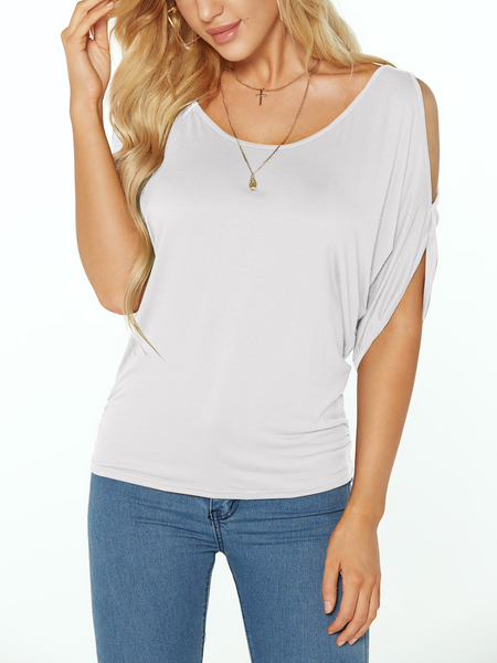 White Scoop Neck Cold Shoulder Tie-up no Tee traseiro