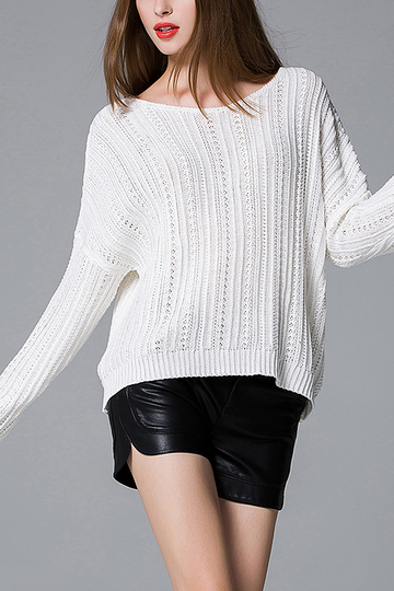 White Dropped Shoulders Knitwear