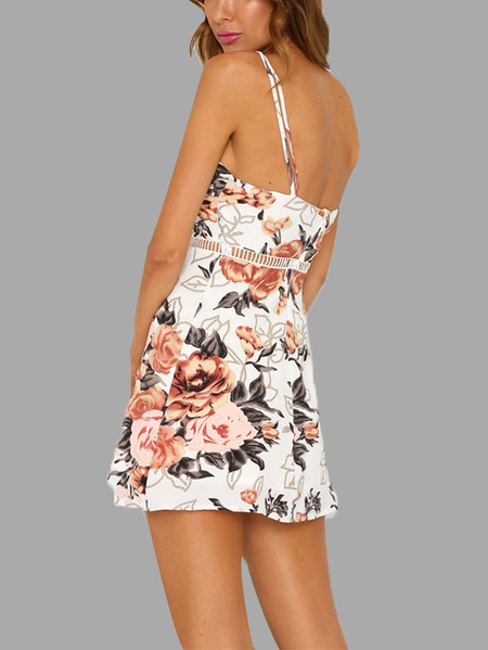 Beige Random Floral Print Hollow Dress