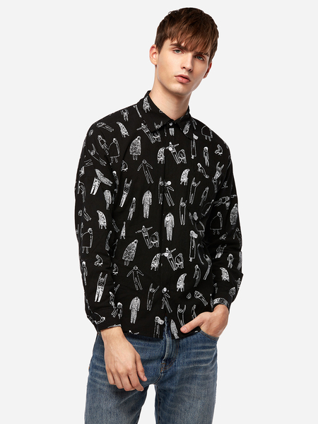 Black Funny Character Pattern One Pocket Classic Collar Long Sleeve Men's Casual Shirt