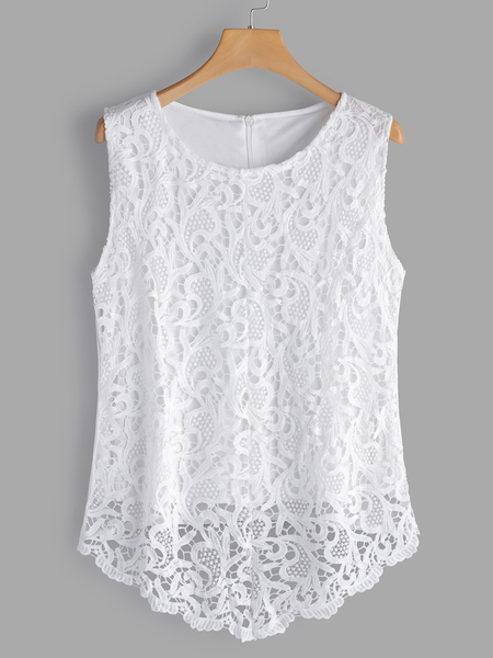 White Hollow Out Lace Round Neck Sleeveless Tanks