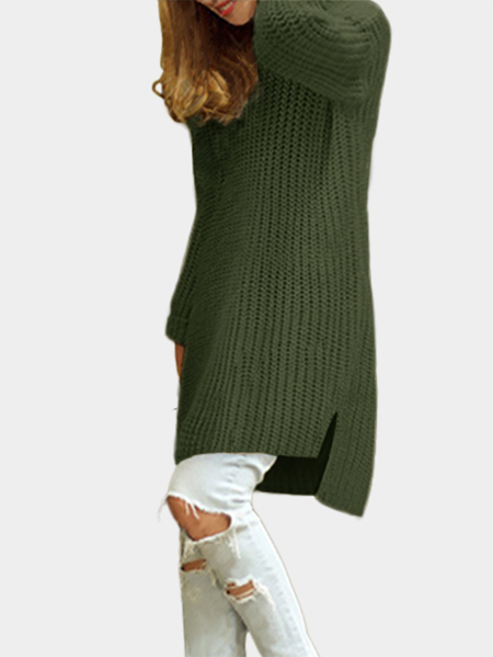 Green Splited Design Round Neck Irregular Sweater