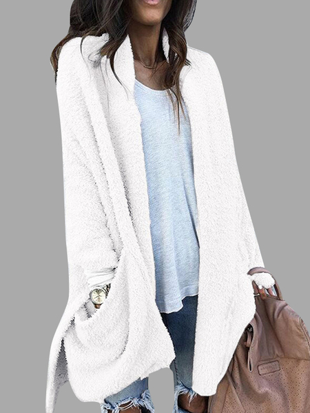 White Collarless Open Front Long Sleeves Two Large Pockets Sweaters Coat