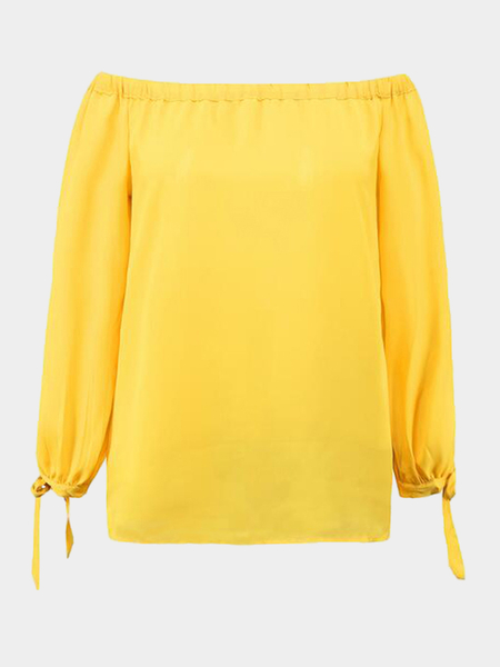 Yellow Off Shoulder Sleeves Side Slit Chiffon Blouse