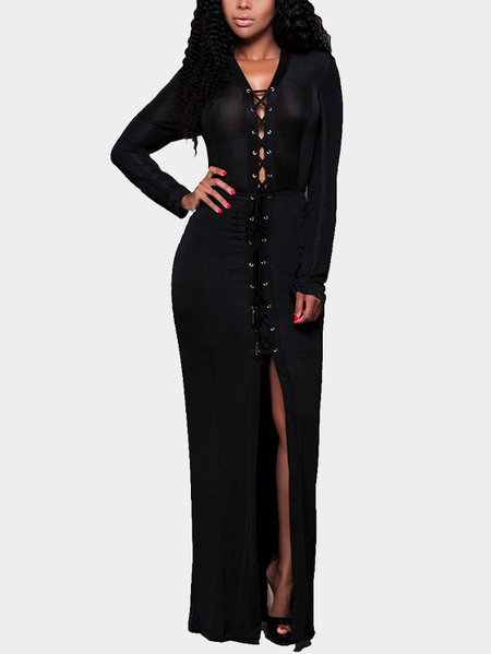 Black V-neck Long Sleeves lace-up Design Slit Dress
