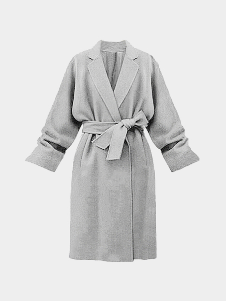 Grey Grey Collar Trench Coat with Belt