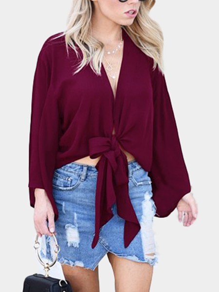 Mauve Tie at Front Blouse