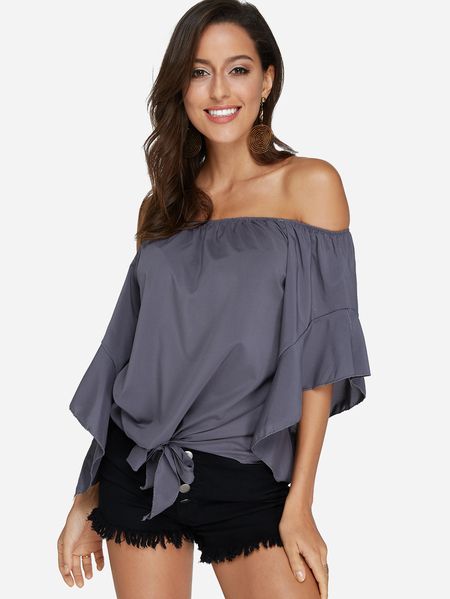 Grey Lace-up Design Off The Shoulder Bell Sleeves Blouse