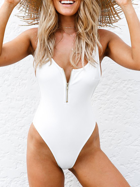 White Sexy Backless Design Bodycon Swimwear