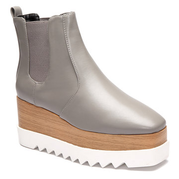 Grey Elastic Design Platform Short Boots
