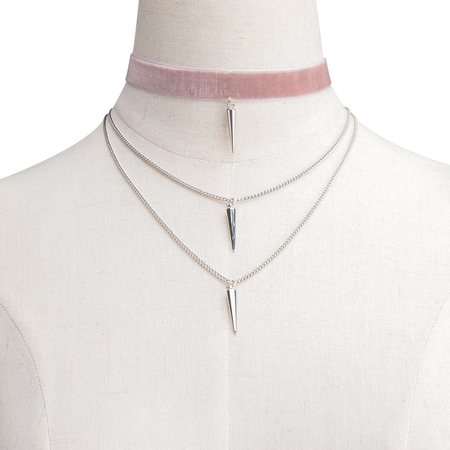 Pink Velvet & Iron Chain Layered Design Rivet Pendant Necklace