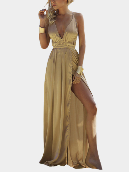 Хаки Backless Design Deep V Neck Party Dress
