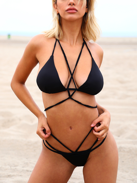 Braided Rope Strappy Design Bikini Set in Black