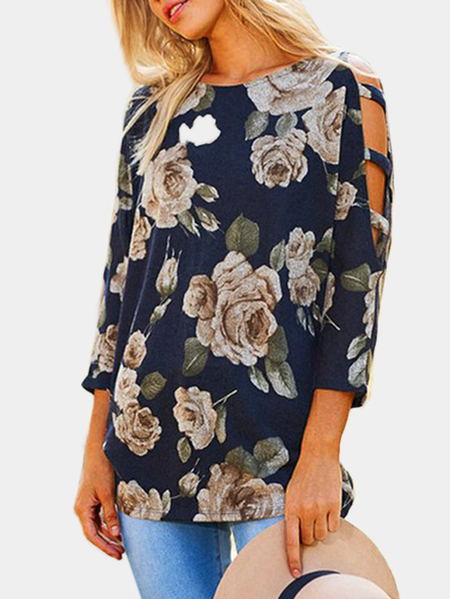 Navy Lace-up Design Floral Print Cold Shoulder Top