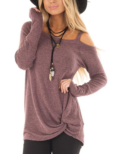 Purple Crossed Front Design Plain One Shoulder Long Sleeves T-shirts