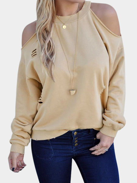 Beige Cut Out Cold Shoulder Long Sleeves Sweatshirts