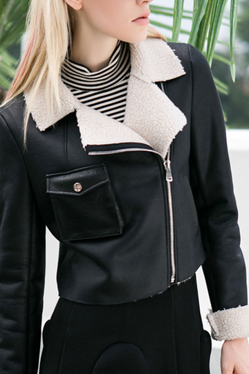 Black Lapel Collar Leather Look Biker Jacket
