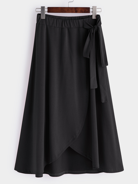 Black Self-tie High-waisted Irregular Hem Skirts