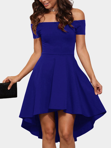 Royal Blue Sexy Off Shoulder Irregular Hem Dress