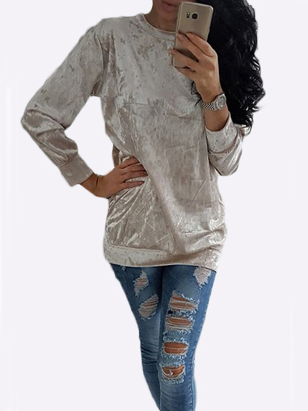Casual Velvet Pullover Long Sleeve Shirt in Apricot