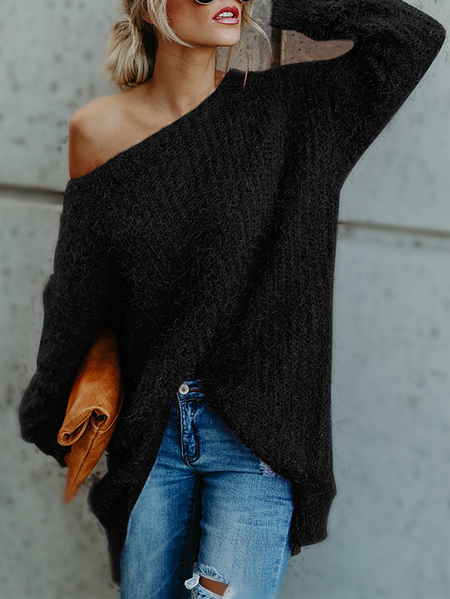 Black One Shoulder Long Sleeves Loose Sweaters