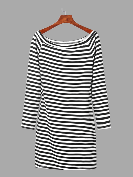 Sexy Off Shoulder Bodycon Stripe Pattern Mini Dress