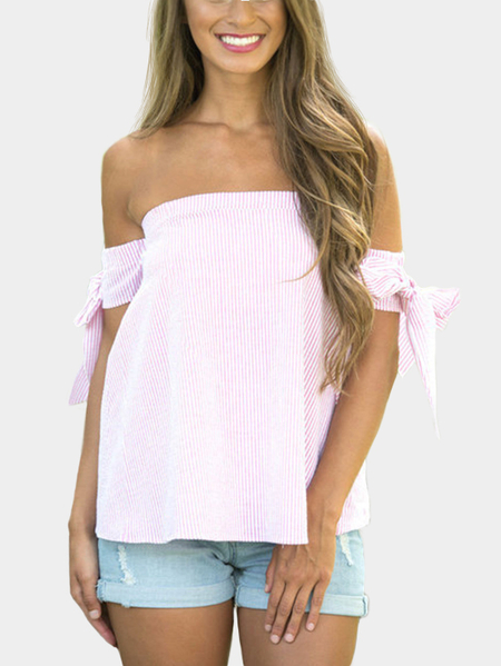 Pink Causal T-shirt with Bateau Design