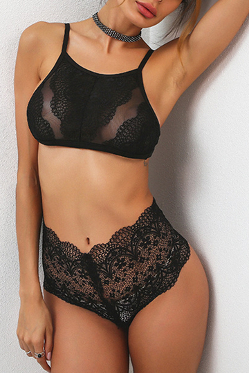 Black Halter Neck Lace Lingeries Set