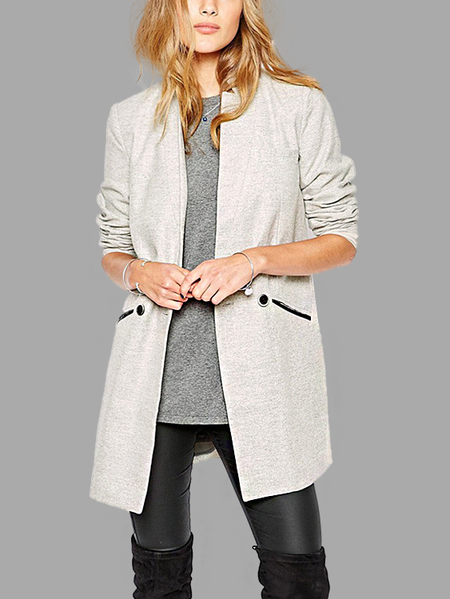 Fashion Plain Light Gray Coat With Double-breasted