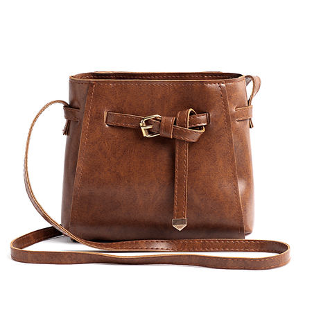 Brown Metallic Buckle Acrossbody Bag