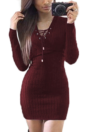 Burgundy Knitted V-neck Lace-up Front Mini Dress