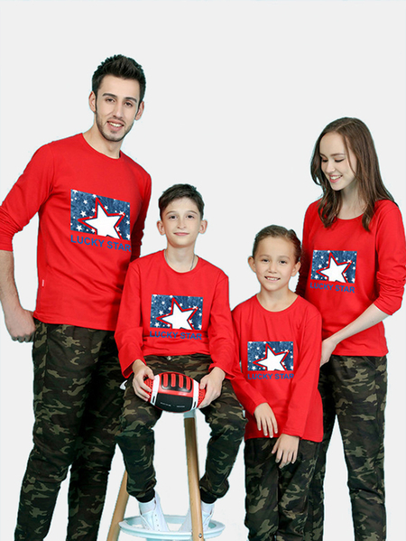 Family Look Printed Design Matching Tops in Red