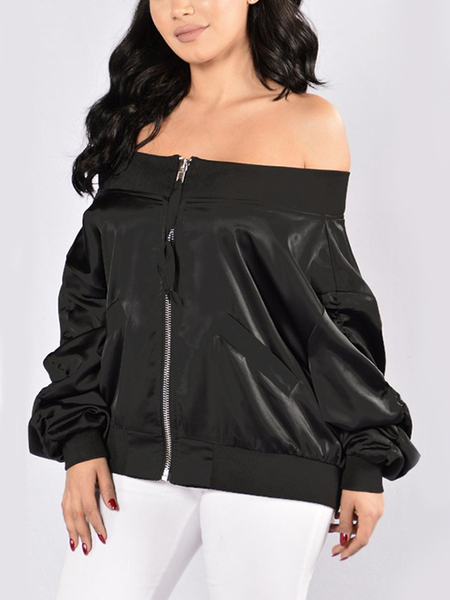 Black Sexy Off-shoulder Zipper Front Pocket Long Sleeves Jacket